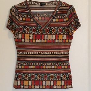 Tribal SS multicolour patterned t-shirt - S